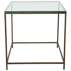 Midcentury American Bronze and Glass Side Table, circa 1950