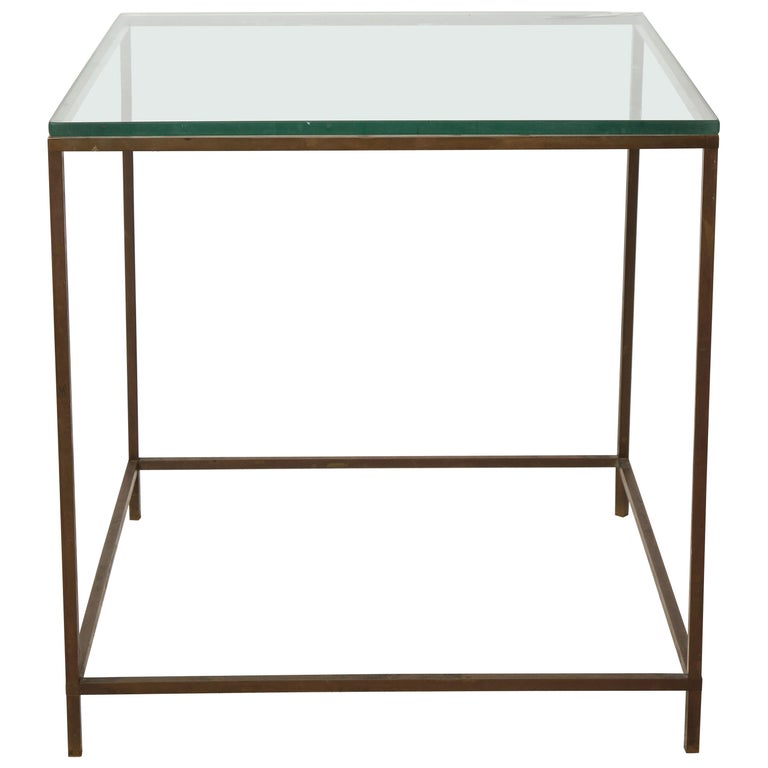 Midcentury American Bronze and Glass Side Table, circa 1950 For Sale