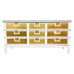 Mid_Century American Campaign Style Wood & Brass Lacquered Credenza or Dresser