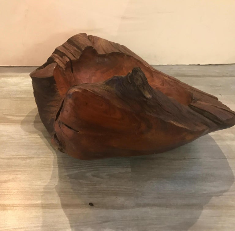 Hardwood Midcentury American Craft Artisan Hand-Carved Bowl For Sale