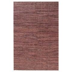 Midcentury American Dark Red and Pink Handmade Wool Rug