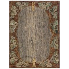 Midcentury American Handmade Wool Rug in Brown, Gold, Gray and Green