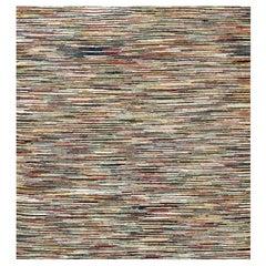 Midcentury American Handwoven Wool Rag Rug in Brown, Ivory and Blue Stripes