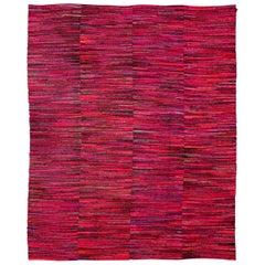Midcentury American Handwoven Wool Rag Rug in Red, Blue, Brown & Orange Stripes