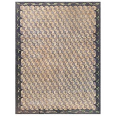 Midcentury American Hooked Geometric Hand Knotted Wool Rug in Beige and Blue