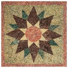 Midcentury American Hooked Handmade Wool Rug