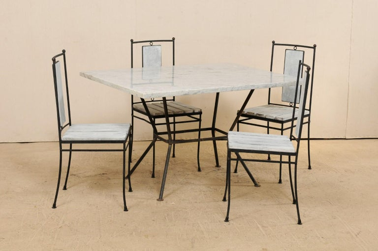 Painted Midcentury American Marble-Top Patio Dining Set Including a Table and 4 Chairs For Sale