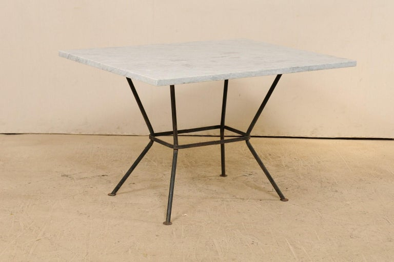 20th Century Midcentury American Marble-Top Patio Dining Set Including a Table and 4 Chairs For Sale