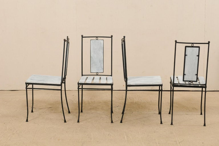 Iron Midcentury American Marble-Top Patio Dining Set Including a Table and 4 Chairs For Sale