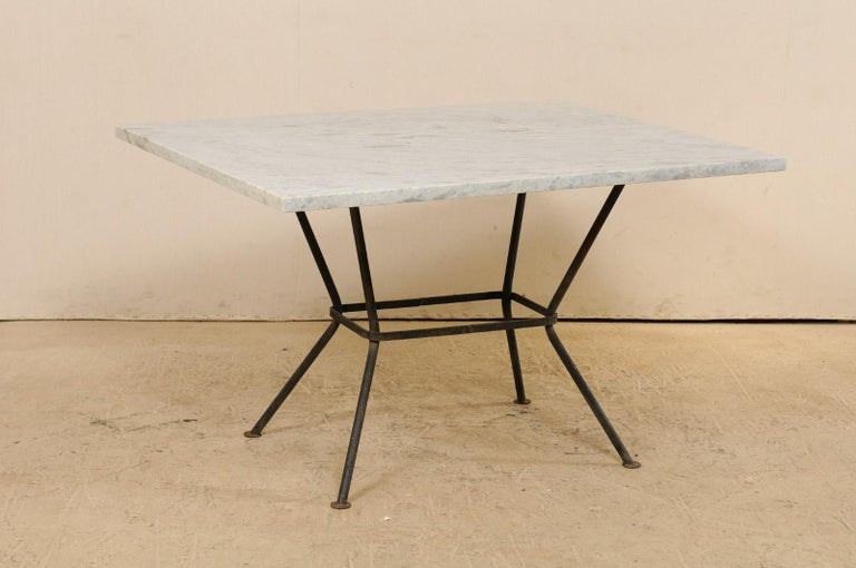 Midcentury American Marble-Top Patio Dining Set Including a Table and 4 Chairs For Sale 3