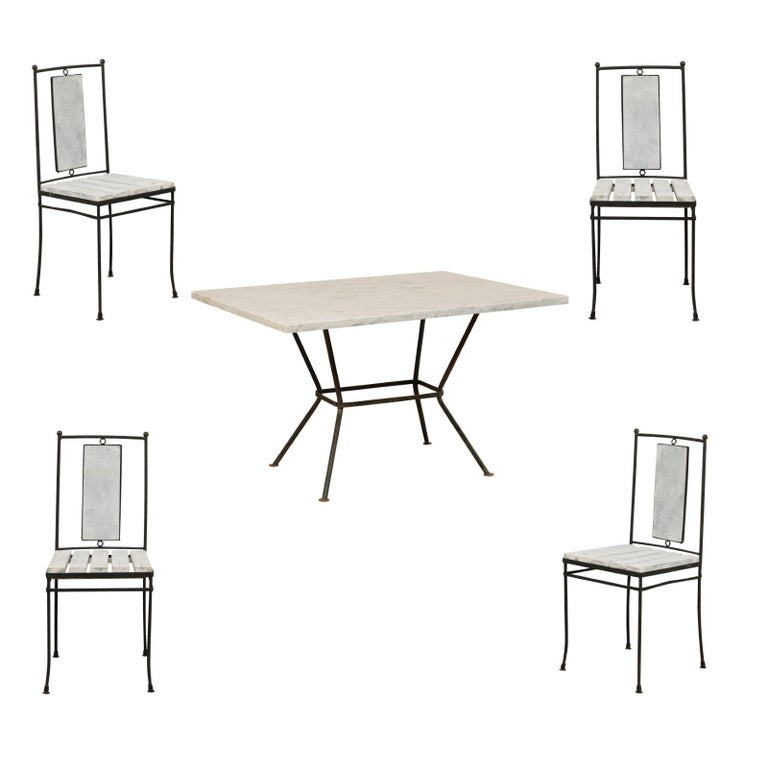 Midcentury American Marble-Top Patio Dining Set Including a Table and 4 Chairs For Sale