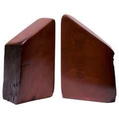 Midcentury American Modern Live Edge Trapezoidal Douglas Fir Bookends