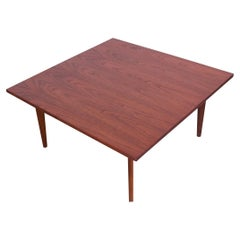 Midcentury American Modern Square Coffee Table in Walnut