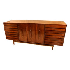 Midcentury American of Martinsville Dania Collection Louvered Walnut Credenza