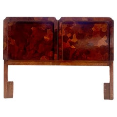 Midcentury American Of Martinsville Patchwork Olive Wood Queen Size Headboard