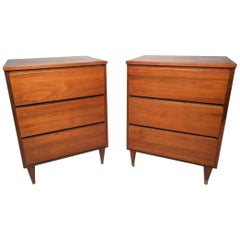 Midcentury American Walnut Three-Drawer Nightstands