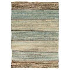 Midcentury American Wool Rag Rug in Blue, Beige and Brown Stripes