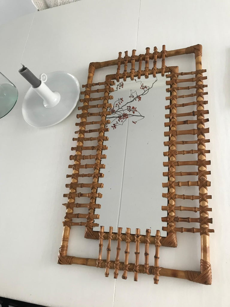Midcentury and Handwoven, Stylishly Organic Cane on Bamboo Wall Mirror For Sale 5