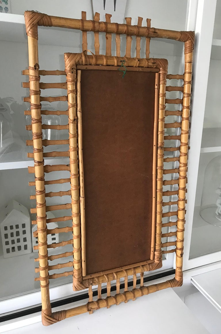 Midcentury and Handwoven, Stylishly Organic Cane on Bamboo Wall Mirror For Sale 8