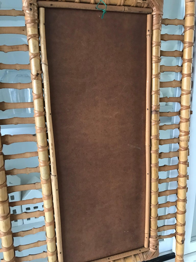 Midcentury and Handwoven, Stylishly Organic Cane on Bamboo Wall Mirror For Sale 12