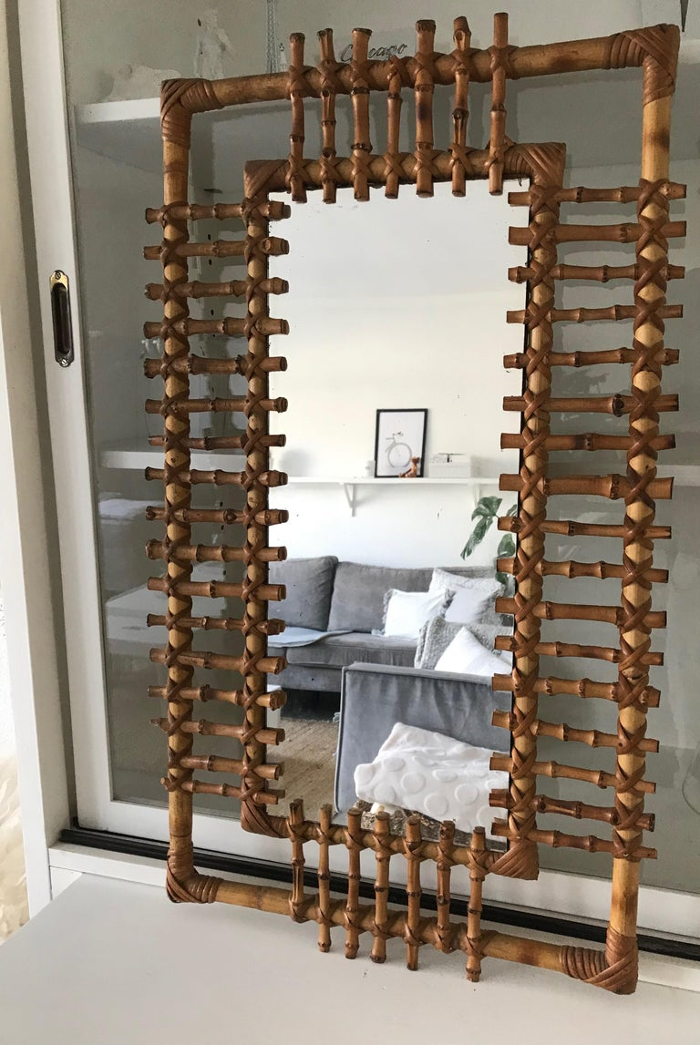 Organic Modern Midcentury and Handwoven, Stylishly Organic Cane on Bamboo Wall Mirror For Sale