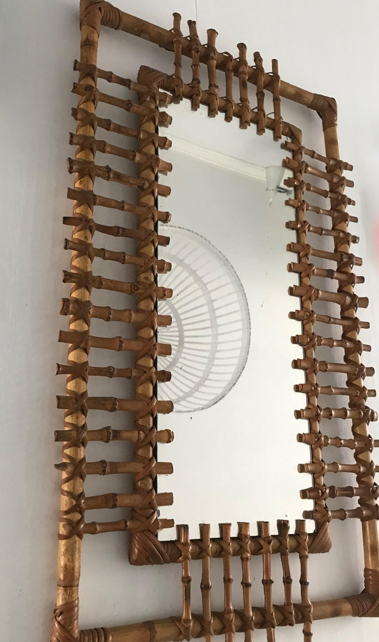 20th Century Midcentury and Handwoven, Stylishly Organic Cane on Bamboo Wall Mirror For Sale