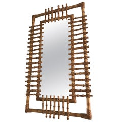 Midcentury and Handwoven, Stylishly Organic Cane on Bamboo Wall Mirror