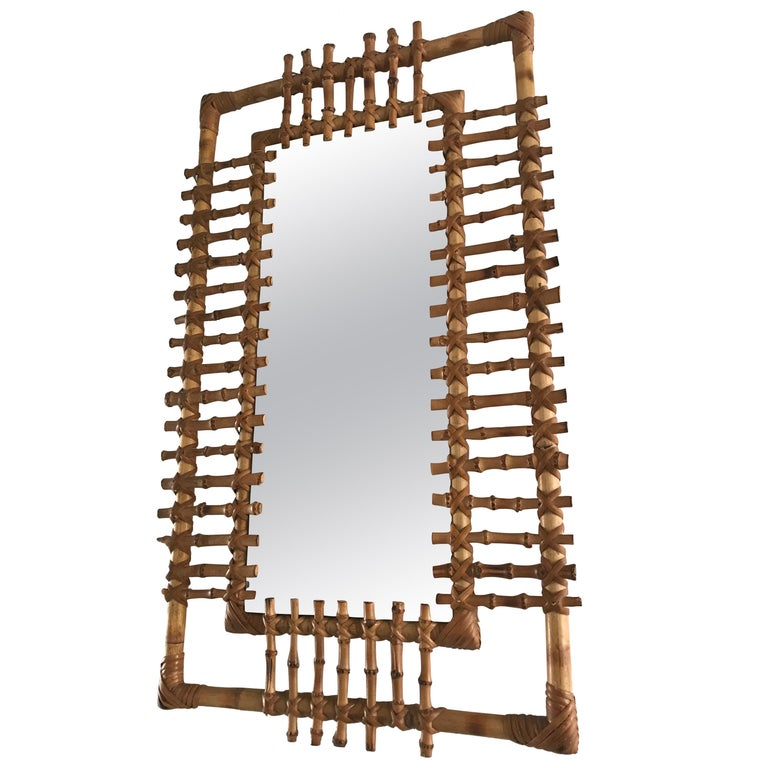 Midcentury and Handwoven, Stylishly Organic Cane on Bamboo Wall Mirror For Sale