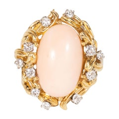 Midcentury Angel Coral Diamond Gold Dome Ring