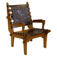 Midcentury Angel Pazmino Tooled Leather Chair
