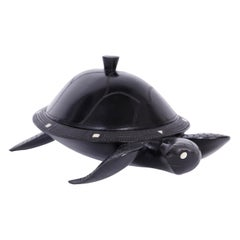 Midcentury Anglo-Indian Carved Ebony Lidded Turtle