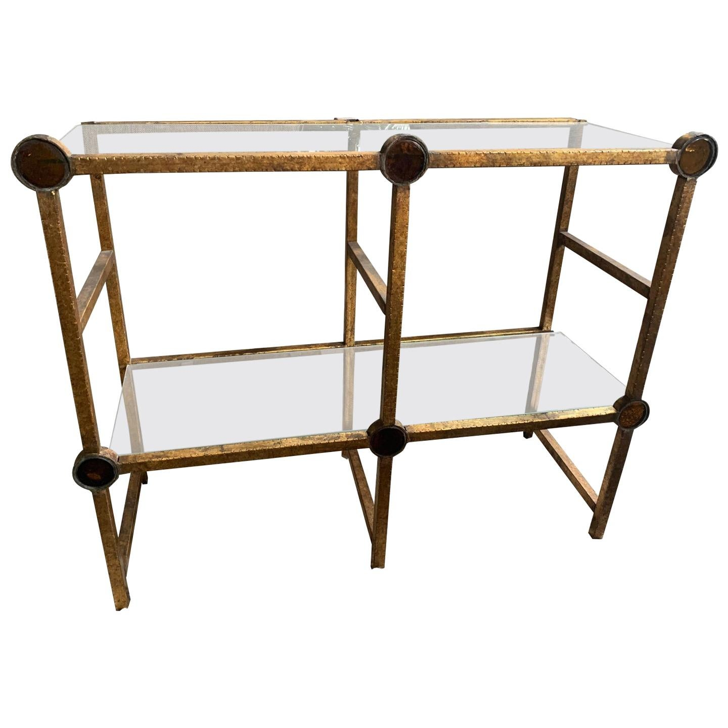 Midcentury Antiqued Brass and Glass Two-Tier Console