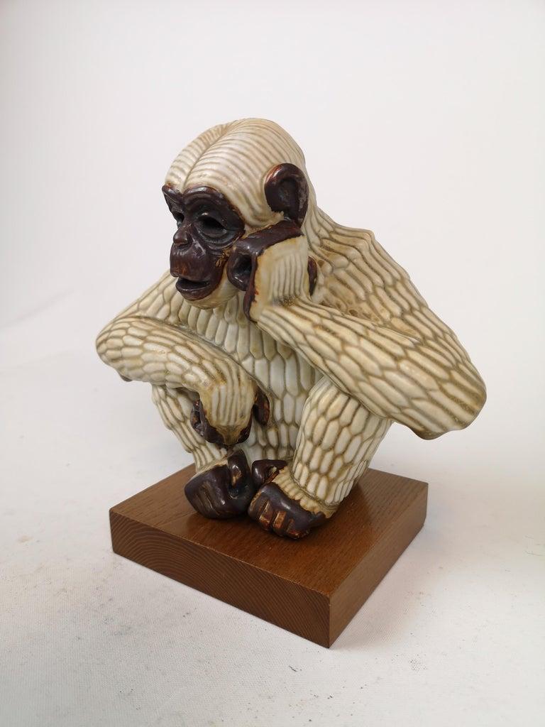 Mid-Century Modern Midcentury Ape Sculpture Rörstrand Gunnar Nylund, Sweden For Sale