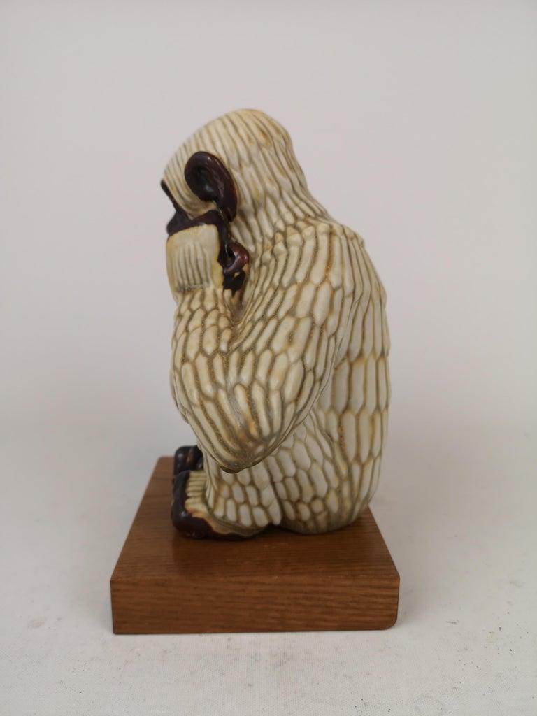 Mid-20th Century Midcentury Ape Sculpture Rörstrand Gunnar Nylund, Sweden For Sale