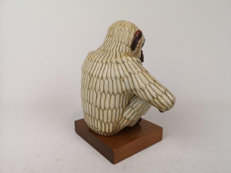 Midcentury Ape Sculpture Rörstrand Gunnar Nylund, Sweden For Sale 1