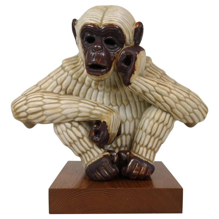 Midcentury Ape Sculpture Rörstrand Gunnar Nylund, Sweden For Sale