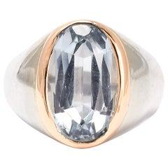 Midcentury Aquamarine Bi-Metal Signet Ring