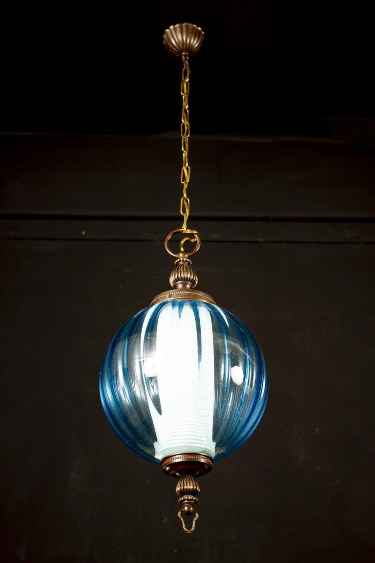 Midcentury Aquamarine Murano Glass Atmosphere Lanterns or Pendants, Italy, 1950 For Sale 3