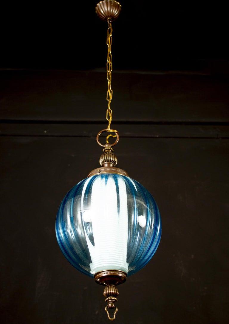 Midcentury Aquamarine Murano Glass Atmosphere Lanterns or Pendants, Italy, 1950 For Sale 4