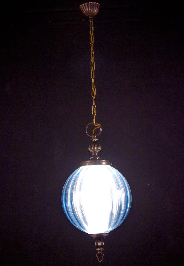Midcentury Aquamarine Murano Glass Atmosphere Lanterns or Pendants, Italy, 1950 For Sale 6