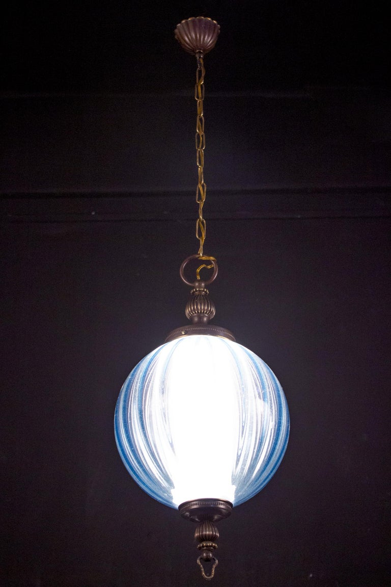 Midcentury Aquamarine Murano Glass Atmosphere Lanterns or Pendants, Italy, 1950 For Sale 7