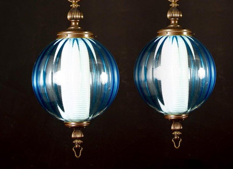 Mid-Century Modern Midcentury Aquamarine Murano Glass Atmosphere Lanterns or Pendants, Italy, 1950 For Sale