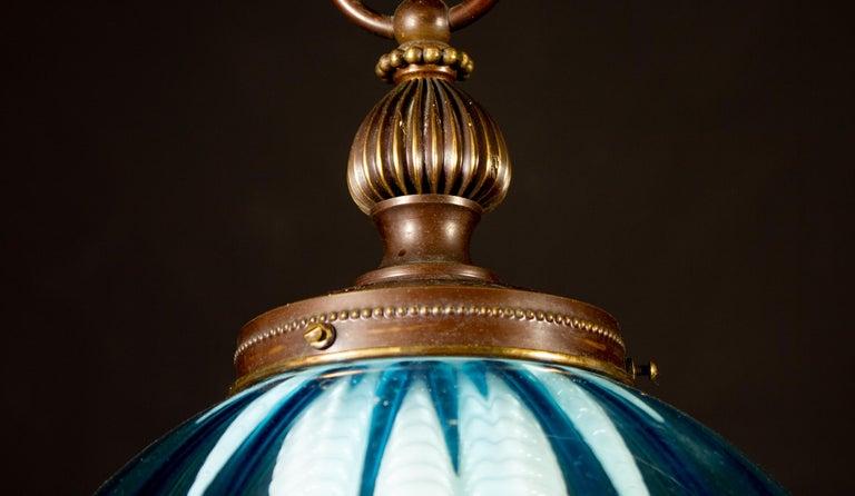 Italian Midcentury Aquamarine Murano Glass Atmosphere Lanterns or Pendants, Italy, 1950 For Sale