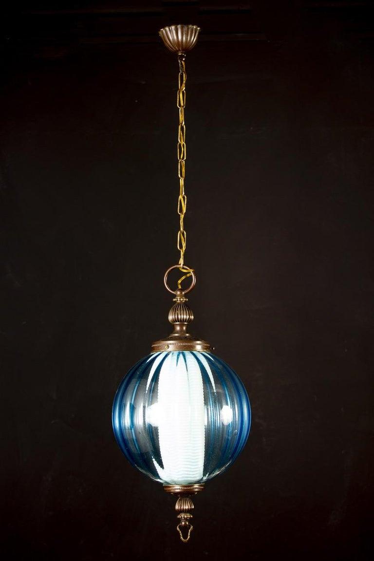 20th Century Midcentury Aquamarine Murano Glass Atmosphere Lanterns or Pendants, Italy, 1950 For Sale