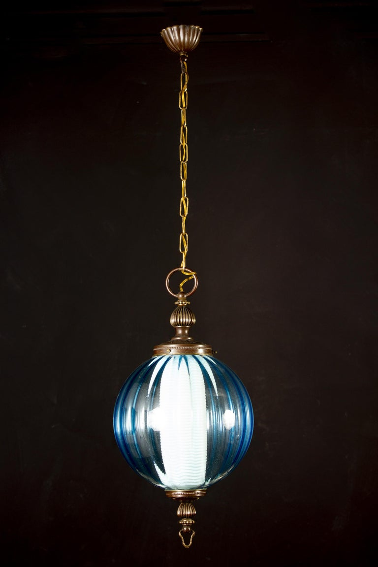 Blown Glass Midcentury Aquamarine Murano Glass Atmosphere Lanterns or Pendants, Italy, 1950 For Sale