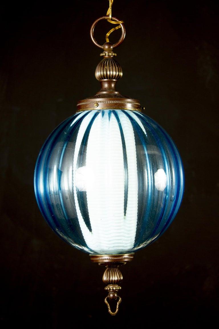 Midcentury Aquamarine Murano Glass Atmosphere Lanterns or Pendants, Italy, 1950 For Sale 1