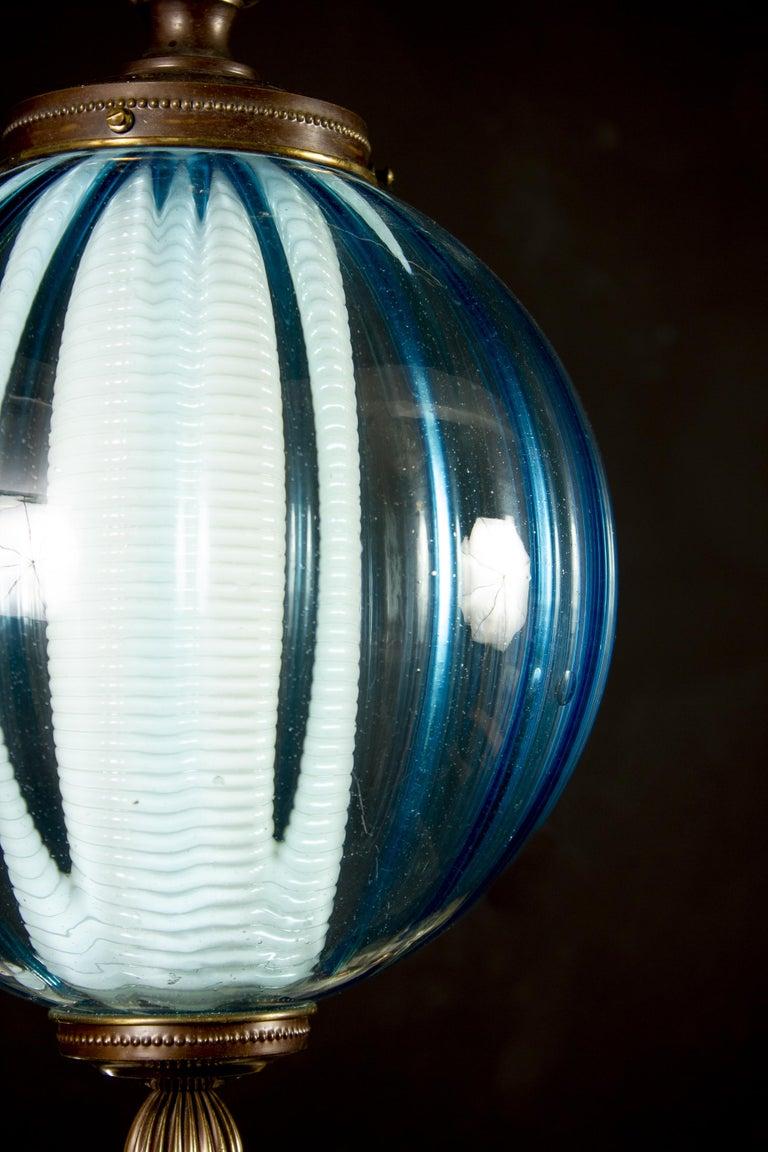 Midcentury Aquamarine Murano Glass Atmosphere Lanterns or Pendants, Italy, 1950 For Sale 2