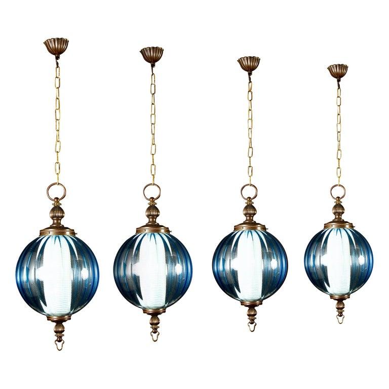 Midcentury Aquamarine Murano Glass Atmosphere Lanterns or Pendants, Italy, 1950 For Sale