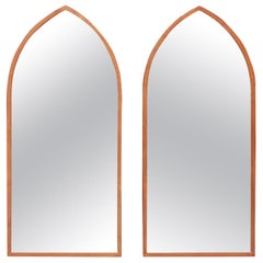 Midcentury Arched Wall Mirrors with Painted Brass Frames