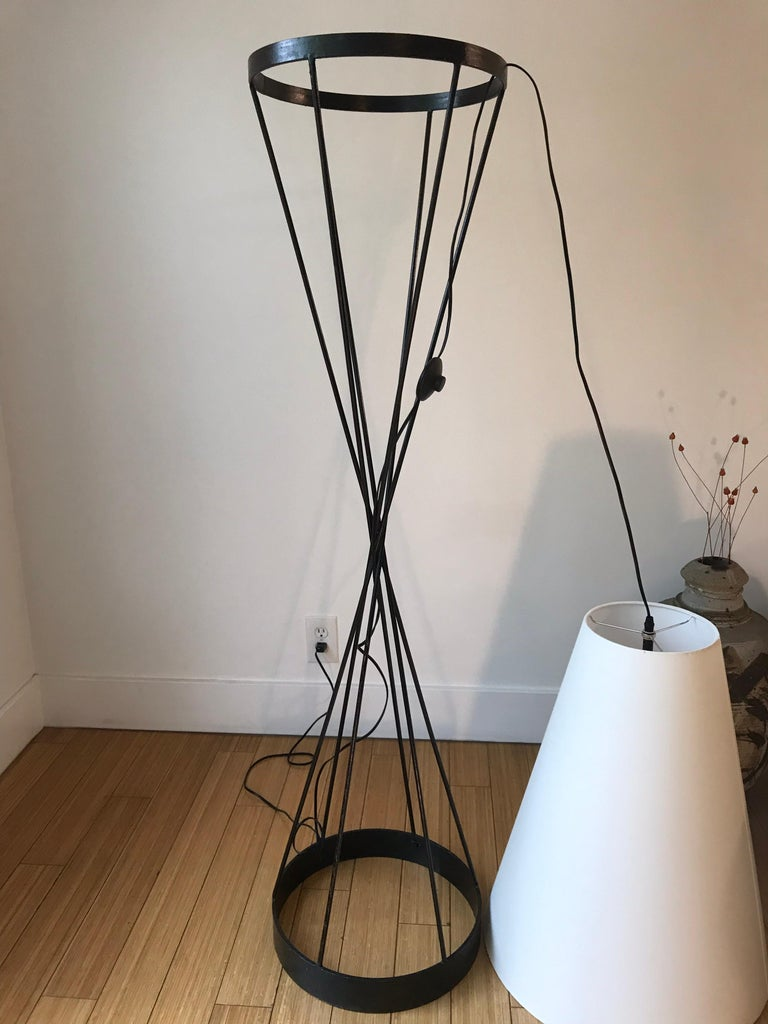Architectural Iron Lamp, Midcentury For Sale 4